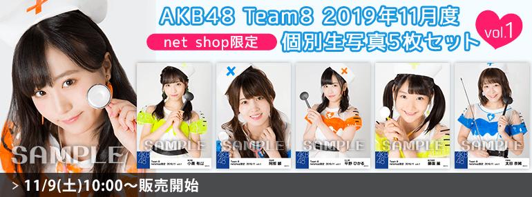 AKB48 チーム8 2019年11月度 net shop限定個別生写真5枚セットvol.1