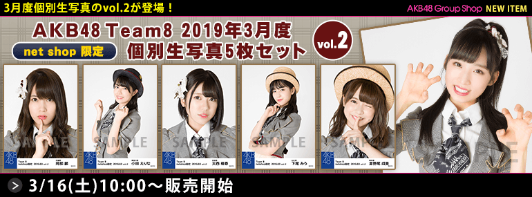 AKB48 チーム8 2019年3月度 net shop限定個別生写真5枚セットvol.2