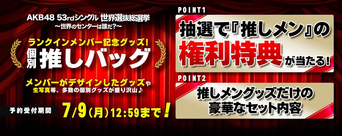 AKB48 53rdシングル 世界選抜総選挙 ランクイン記念 推しバッグ