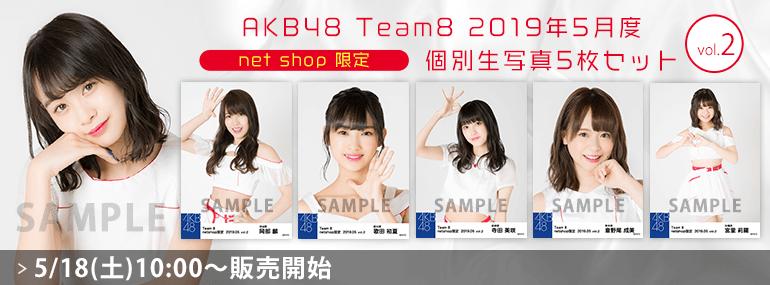 AKB48 チーム8 2019年5月度 net shop限定個別生写真5枚セットvol.2