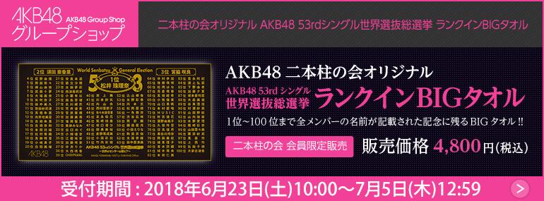 二本柱の会 会員限定 オリジナル AKB48 53rdシングル世界選抜総選挙 ランクインBIGタオル