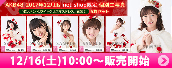 AKB48 2017年12月度 net shop限定個別生写真「ポンポン ホワイトクリスマスドレス」衣装II5枚セット
