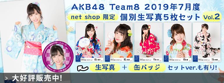 AKB48 チーム8 2019年7月度 net shop限定個別生写真5枚セットvol.2