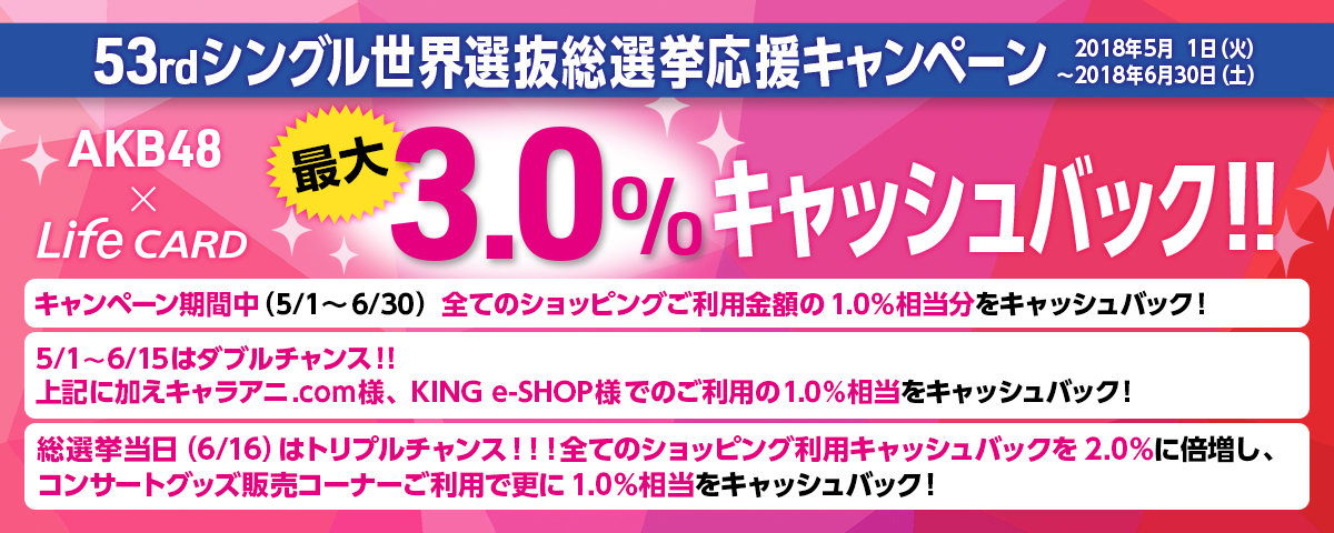 AKB48 CARD総選挙応援キャンペーン!~最大3.0%キャッシュバックのチャンス!~