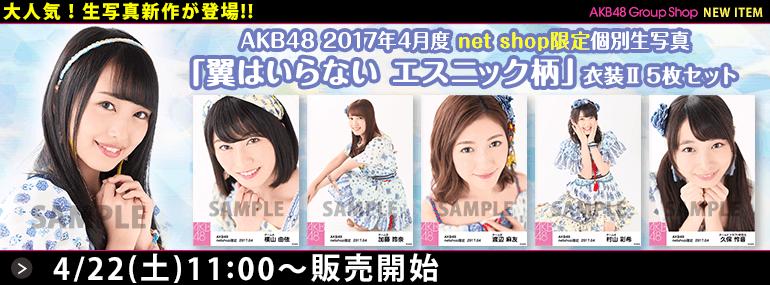 AKB48 2017年4月度 net shop限定個別生写真 「翼はいらない エスニック柄」衣装II5枚セット